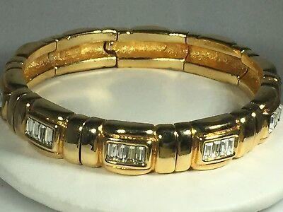 Ivana Trump Gold Tone Spring Bracelet W Cz Baguettes   Classy