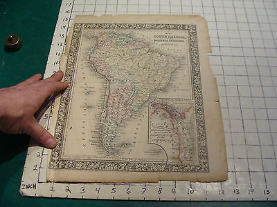 ORIGINAL Hand Colored 1860 Mitchell Map: 15 1/4 x 23 1/4 SOUTH AMERICA