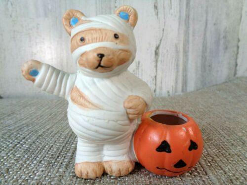 "Vintage Small Mummy Bear Pumpkin Candle Halloween Votive 3"" Tray Decoration"