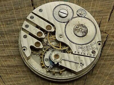 Antique Pocket Watch Movement Ingersoll Watch Co. Nickel Hunting Dial