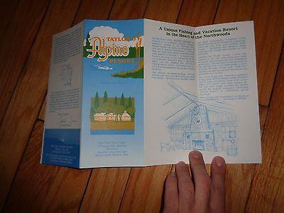 Taylor's Alpine Resort Boulder Junction Manitowish Waters Wisconsin Brochure