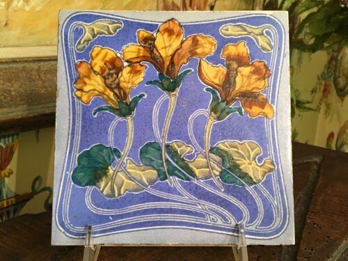 Antique English Tile Transferware Victorian Art Nouveau Lilies on the Pond
