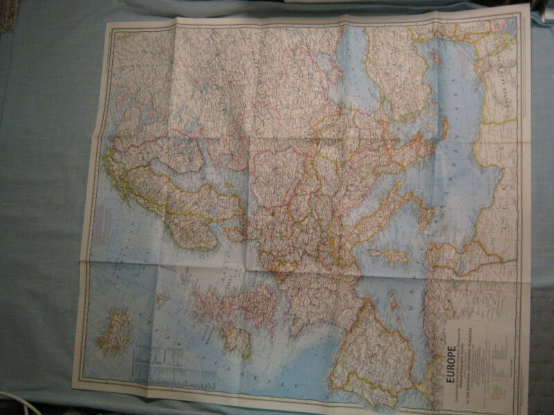 VINTAGE EUROPE WALL MAP National Geographic June 1969 XLNT