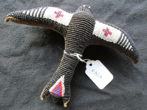 VINTAGE NATIVE AMERICAN BEADED LEATHER FETISH, GHOST BIRD AMULET,  SD-1020*03513