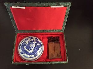 Chinese Carved Stone Stamps in Silk Box $25