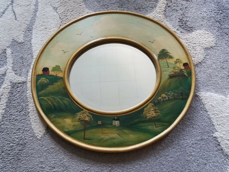 Antique Folk Art Country Scene Hand Painted Oval Mirror Vintage