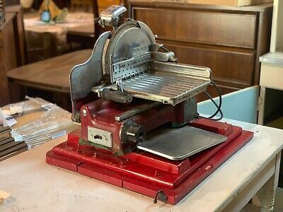 Vintage Red U.s. Slicing Machine Commercial Meat Slicer La Porte With Sharpener