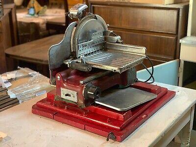 Vintage Red U.s. Slicing Machine Commercial Meat Slicer La Porte With Sharpener