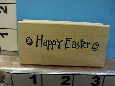 Northwoods Happy easter with eggs saying rubber stamp 1J
