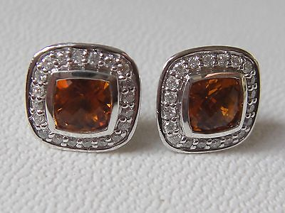 $895 DAVID YURMAN,SS CITRINE DIAMOND EARRINGS