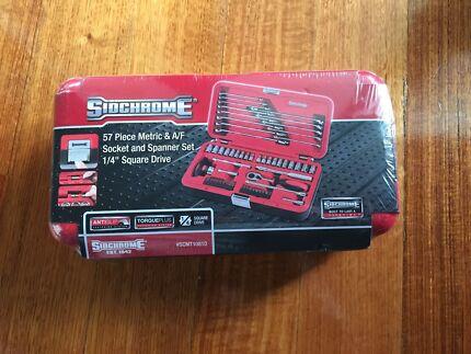 """Sidchrome 57Pc 1/4"""" Drive AF/M Socket & Spanner Set (SEALED) Brunswick East Moreland Area Preview"""
