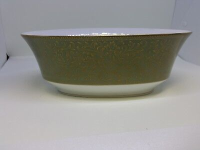 SANGO China VERSAILLES Olive Green Gold Floral -Oval Vegetable Bowl 9