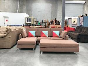 TODAY DELIVERY BEAUTIFUL MODERN L shape SOFA lounge couch OTTOMAN