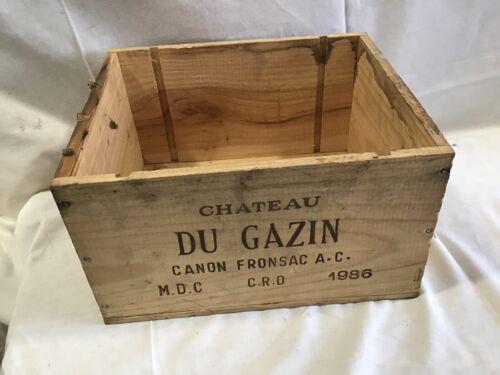 Caisse a bouteilles de vin chateau du gazin 1986 en bois