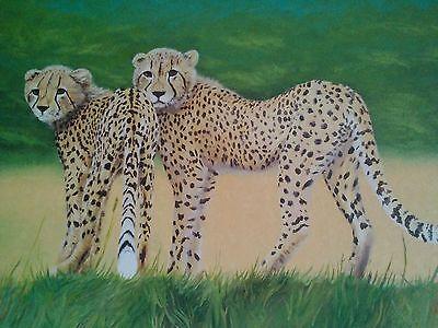 Original Oil Painting Cheetahs 24X36