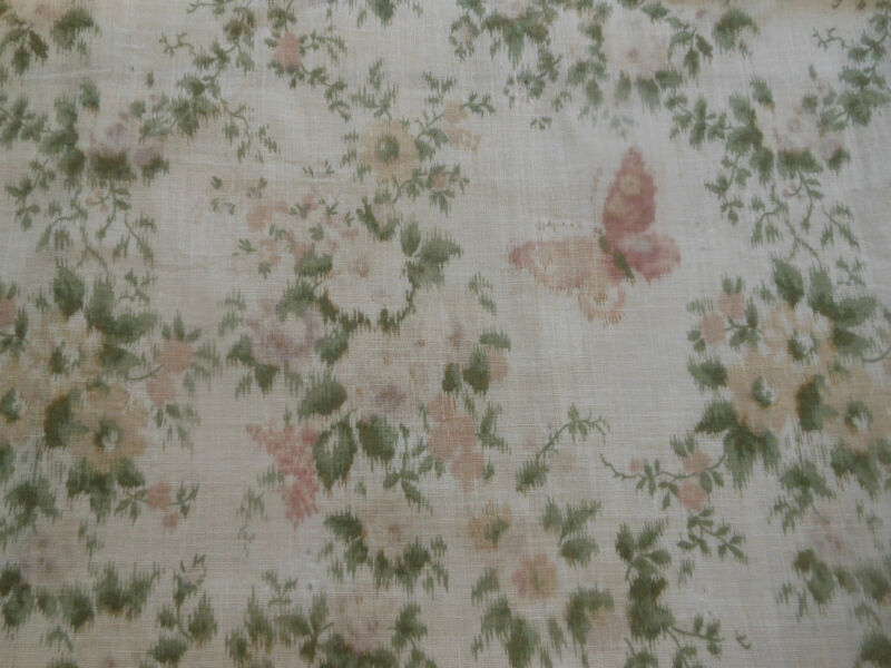 Antique Watered Roses Butterfly Lawn Cotton Fabric ~ Rose Lavender Green