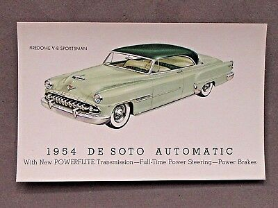 1954 DESOTO FIREDOME V6 SPORTSMAN advertising promotional card DE SOTO