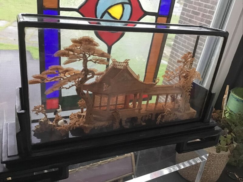 "VINTAGE CHINESE CARVED CORK DIORAMA 3D SCENE UNDER GLASS PAGODA STORKS CRANE 12"""