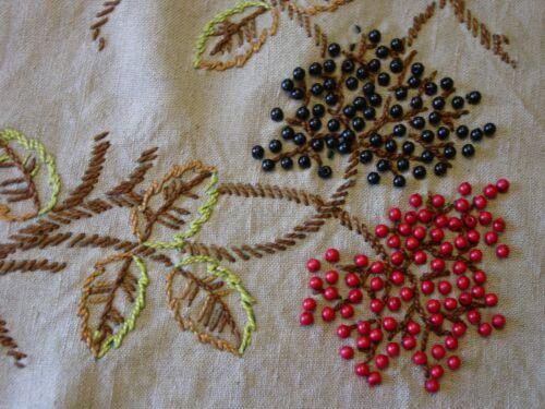 Fabulous Vintage/Antique Tablecloth Arts & Crafts Ecru Linen,Embroidery,Beads
