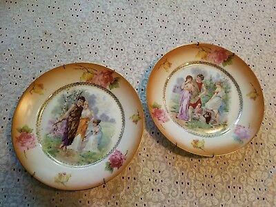Set Of 2 Vintage Hanging Plates Floral Roman Man Women togas 9.5