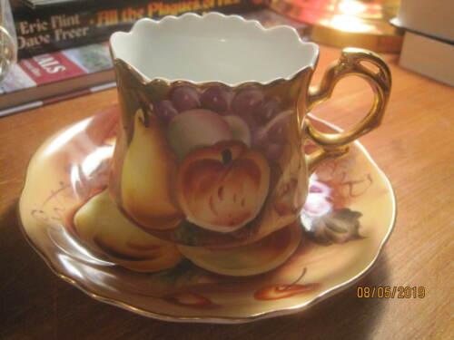Vintage Lefton hand painted Fruit Cup & Saucer gold trim #NE561