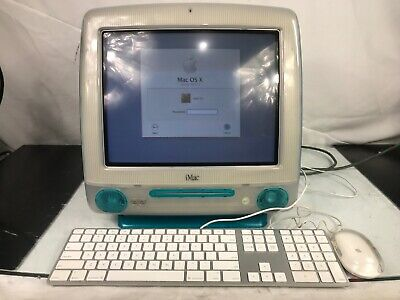 Vintage Apple iMac G3 M5521 1999 Blueberry Blue Mac OS X With Keyboard & Mouse