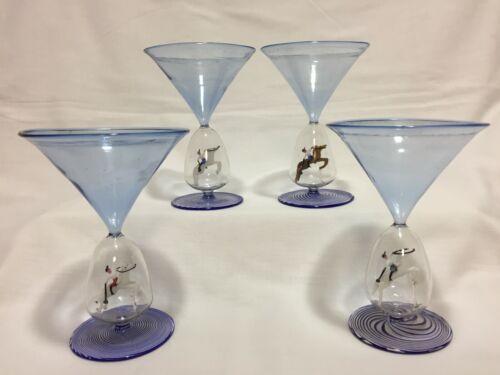 Bimini glass goblets, set of 4, polo riders, collectible, rare, art glass