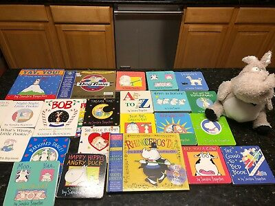 Lot 20 Board Books Sandra Boynton Dog Train, Pookie/snuggle Puppy Plush Hippo