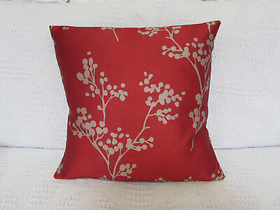 Luxury Cushion Cover, Red, Beige, Silky, Berry Sprig, Faux Silk, Zoffany. (Silky Red Cushion Cover)