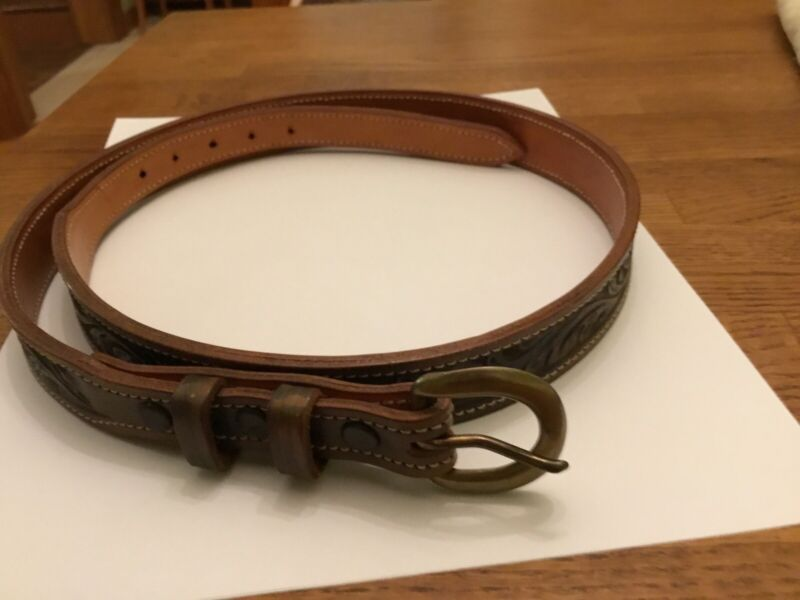 Bob Dellis Green Tooled Leather Floral Belt W/ Brass Buckle Sz 36