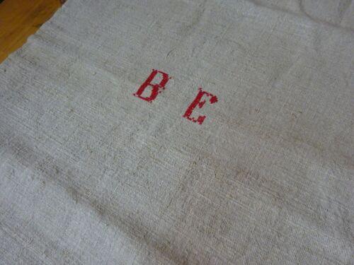 Antique European Feed Sack GRAIN SACK BE Monogram #9016