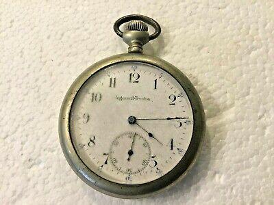 Antique Ingersoll Trenton Pocket Watch Nickel Silver Case Sold As Is