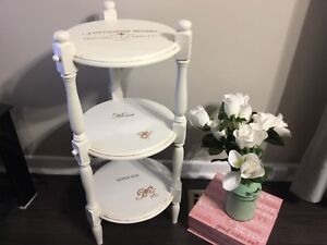The cutest accent table!  Redone white w/lovely delicate stencil