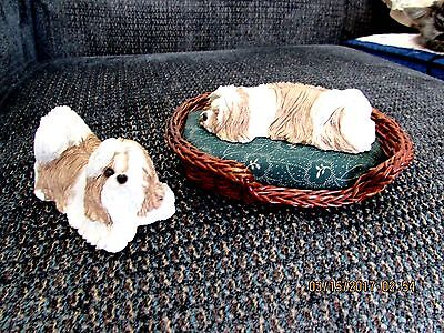 Sandicast Mid Size Gold And White Shih Tzu Sculptures Standing & Sleeping