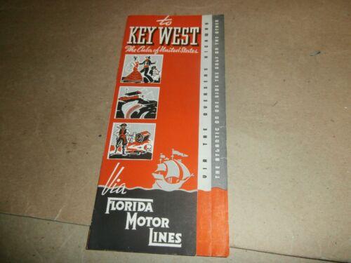 Vintage  1939 Key West FL Travel Brochure Florida Motor Lines