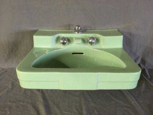 Vtg Ceramic Crane Drexel Jade Green  Bathroom Wall Sink Original Faucet 35-20E