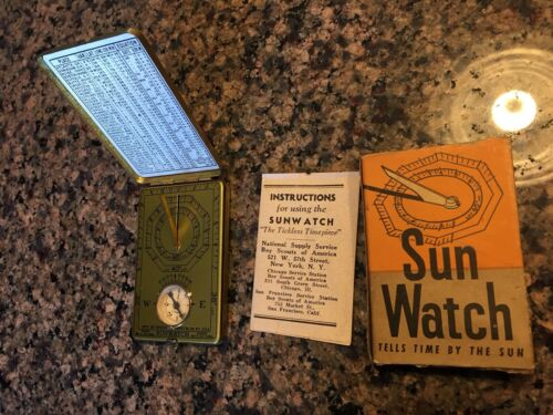 Vintage 1921 POCKET SUN-WATCH Sundial Compass w/Box & Instr by Outdoor Supply Co