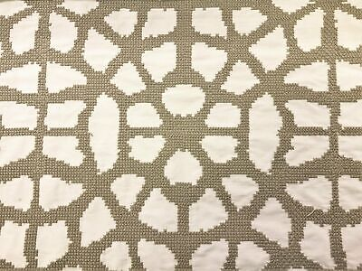 Designer Faux Silk Embroidered Off White Taupe Drapery Fabric Silk Designer Drapery Faux Fabric