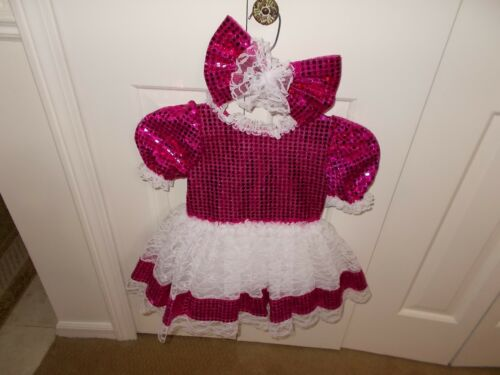 Sparkle Dance Costume Pink Sequin White Lace Girls Size 6 with Hair Bow Made USA