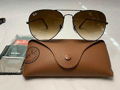 Ray-Ban Aviator Sunglasses RB3025 58mm 002/51 Black Frame w/ Gradient Brown Lens