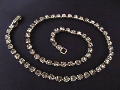 Vintage Necklace Clear Crystal Rhinestone 15 inch Silver Chain Choker 778d