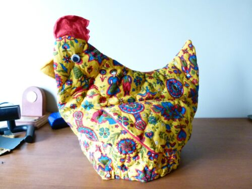 VINTAGE ~ Yellow Chicken Chinz Print Teapot Cover or Bun Warmer Great Colour!