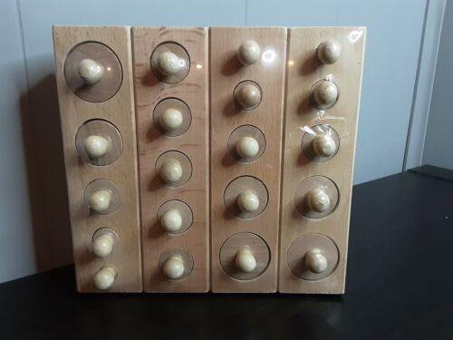 Montessori 4pc Knobbed Wood Cylinder Puzzle