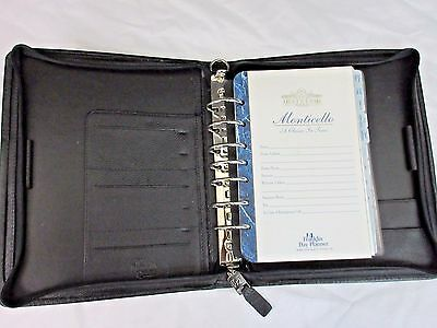 Franklin Quest Planner Black Pebbled Leather 7 Ring Zip Close Usa Made 1997