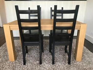 Ikea dining table and chairs - birch and black/brown ...