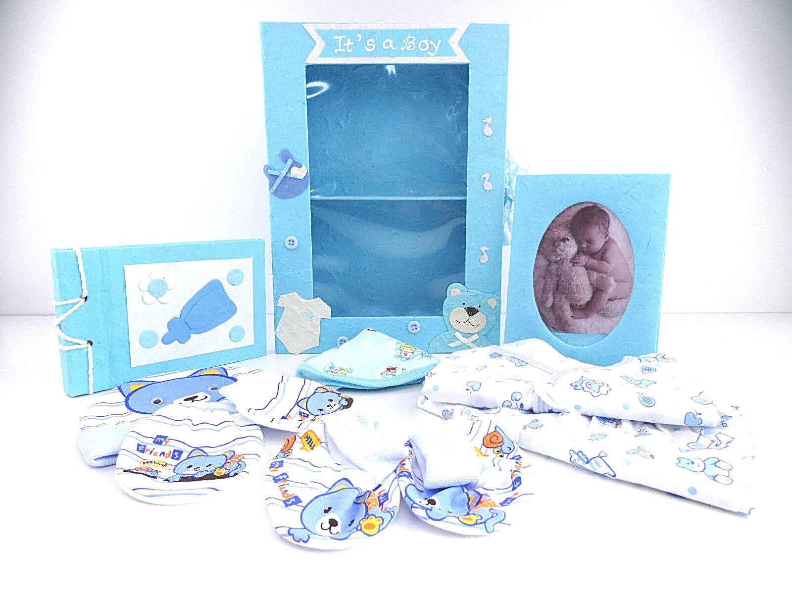 BABY Geschenkbox Junge Erstausstattung Geburt 9tlg.Set Säugling Neugeborenes TOP