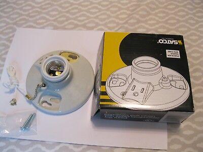 PORCELAIN LIGHT LAMPHOLDER & OUTLET~SOCKET~PULL CHAIN~MEDIUM BULB~CEILING~CLOSET Bulb Pull Chain