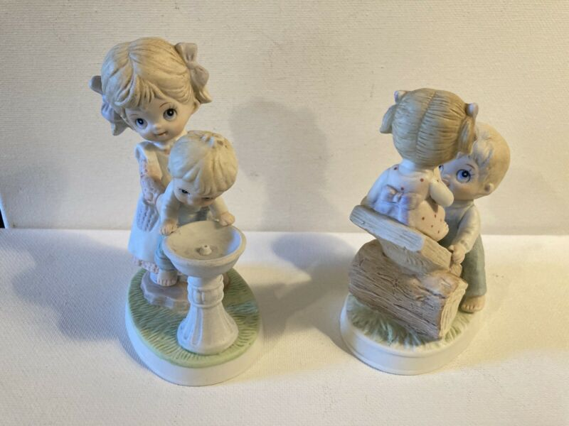 """Set Of 2 Homco Porcelain Figurines Girl Holding Boy Up at Water Fountain 5"""""""