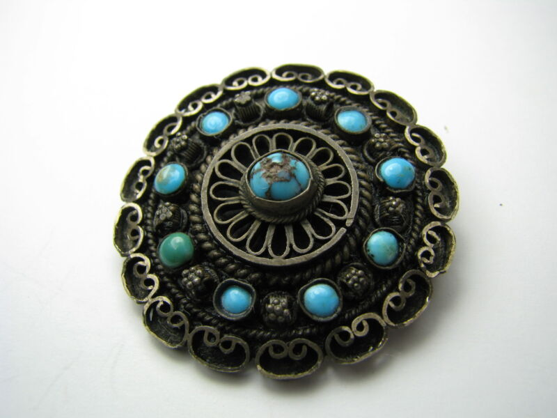 STERLING SILVER BROOCH PIN TURQUOISE & FILIGREE Middle East Palestine ca1920