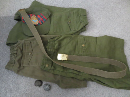 VTG BOY SCOUTS OF AMERICA CARGO BELTED PANTS GREEN 32 x 27, 2 Shorts ,2 tie clip